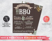 Rustic I Do BBQ Wedding Invitation - Wedding Shower Invitation - Country Wedding Invitation - Printable Wedding Invitation - Corjl Template