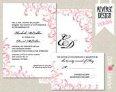 CUSTOMIZED PRINTABLE Pink and Black  Swirl Custom Wedding Invitation & Reply Card Set