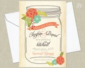 CUSTOMIZED PRINTABLE Vintage Flowers and Mason Jar Wedding Shower, Save the Date, Baby Shower