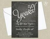 Wedding Anniversary Invitation - Glitter Invitations - 50th Anniversary Invitation - Adult Birthday Invitation - Print Your Own Invitation