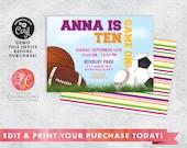 Editable Sports Birthday Invitation - Sports Party - Print it yourself Sports Invitation - Sports Birthday Invitation - Print Now Invitation