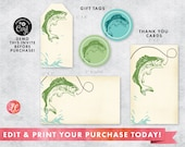 DIGITAL DOWNLOAD Fishing Party Package, Fish Gift Card, Fish Thank You Card, Fishing Party invitation set, First Birthday Fishing Package