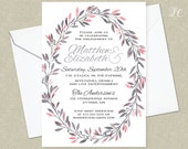 Pink and Grey Watercolor Engagement Party Invitation - Wedding Shower Invitation - Baby Shower Party Invitation - Watercolor Invitation