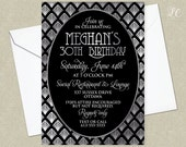 Silver Roaring 20's Birthday Invitation - Great Gatsby Invitation - Adult Birthday Invitation
