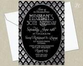 Silver Roaring 20's Birthday Invitation - Great Gatsby Invitation - Adult Birthday Invitation