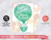 Water Color Hot Air Ballon Save the Date Announcement - Save the Date - Wedding Invitation - Wedding Save the Date - Printable Template