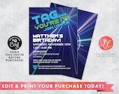 Laser Tag Digital Birthday Invitation, Laser Tag Birthday Party, Pre-Teen Birthday Invitation, Boys Birthday Invitation, Instant Download