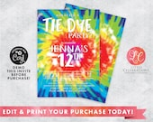 Tie Dye Birthday Party Digital Download Invitation, Crafty Invitations, Tie Dye Editable Invitation, Craft Party Editable invitation, Corjl