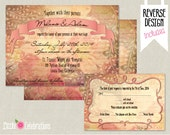 CUSTOMIZED PRINTABLE Vintage Pink and Brown Custom Wedding Stationery set - Invitation, reply card, map, save the date postcard