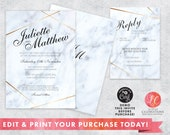 Editable Marble Wedding Invitation, Elegant Marble Wedding Invitation, Shower Invitation, Party Invitation, Anniversary Invite, Corjl
