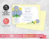 Wedding Shower Invitation - Bridal Shower Invitation - Baby Shower - Birthday Invitation - Hydrangea - Daffodil - Printable Template