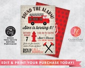Fire Truck Digital Template Birthday Party Invitation, Firefighter Birthday Party Invitation, Fire Truck Birthday Invitation, Fireman Party