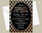 Gold Roaring 20's Birthday Invitation - Gold Great Gatsby Invitation - Adult Birthday Invitation