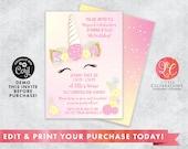 EDITABLE Light Pink and Yellow Unicorn Birthday Party Invitation