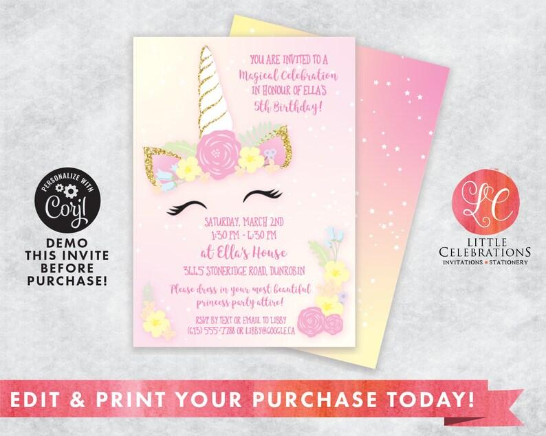 EDITABLE Light Pink and Yellow Unicorn Birthday Party image 0