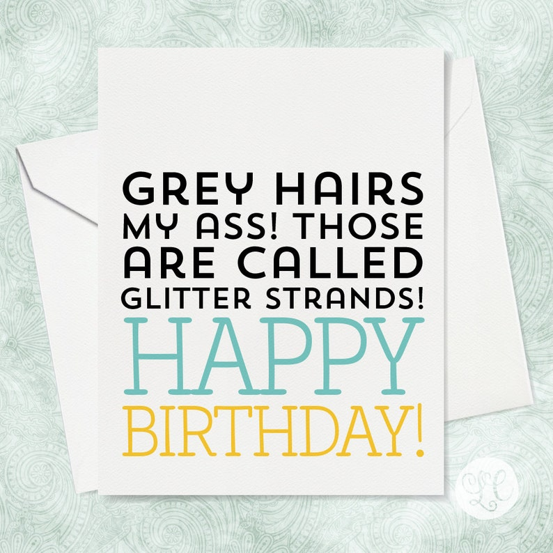 Glitter Strands Birthday Card  Old Age Birthday Card  A2 image 0