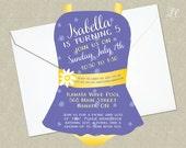 Purple and Yellow Girls Pool Birthday Party Invitation - Pool Party Invitation - Girls Bathing Suit Birthday Invitation