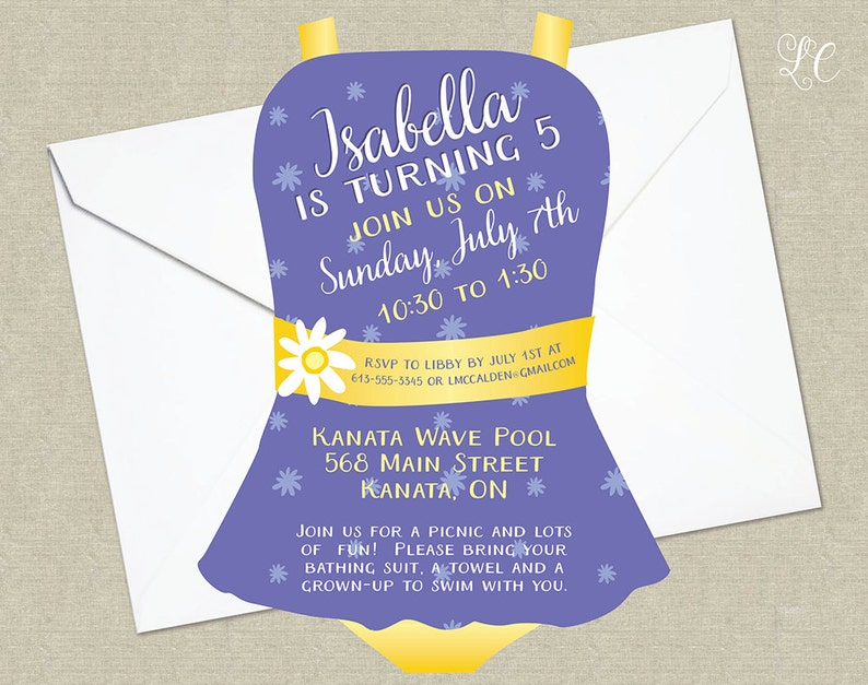 Purple and Yellow Girls Pool Birthday Party Invitation  Pool image 0