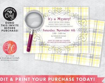 Girls Spy Birthday Invitation - Mystery Birthday Party Invitation - Detective Birthday Invitation - Editable Invitation - Edit Now