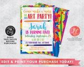 DIGITAL DOWNLOAD Birthday, Art Party Birthday Invitation, Craft Party Invitation, Painting Party, Crafty Birthday, Corjl Template, Editable