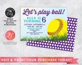 DIGITAL DOWNLOAD Birthday Invitation, Baseball Birthday Party Invitation, Softball Party Invitation, Editable Invitation, Corjl