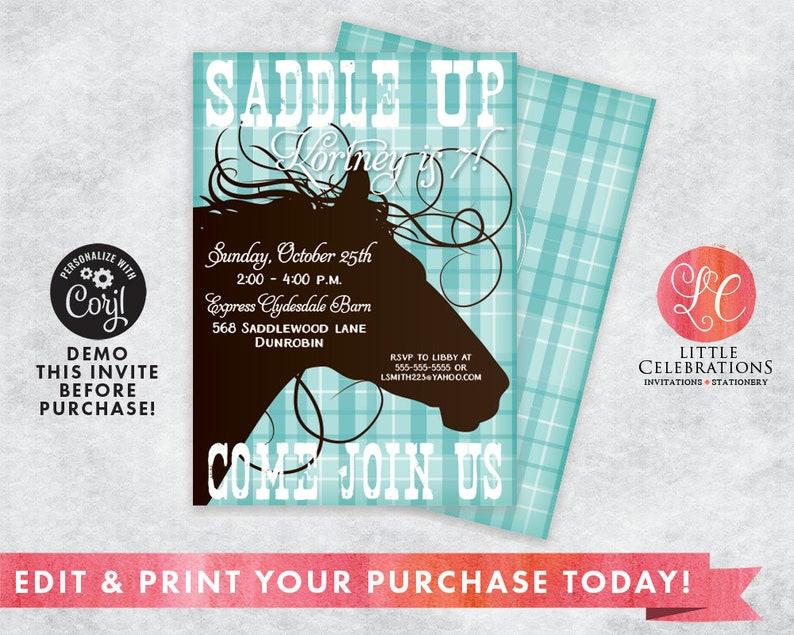 Edit Now  Editable Invitation  Turquoise Cowgirl Birthday image 0