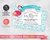 DIGITAL DOWNLOAD Birthday, Flamingo Birthday Invitation, Flamingle Invitation, Pool Party Invitation, Girls Invitation, Corjl Template