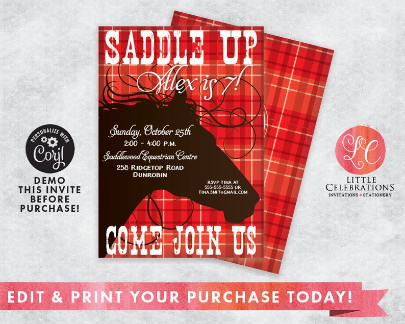 Red Cowboy Birthday Party Invitation  Horse Birthday image 0