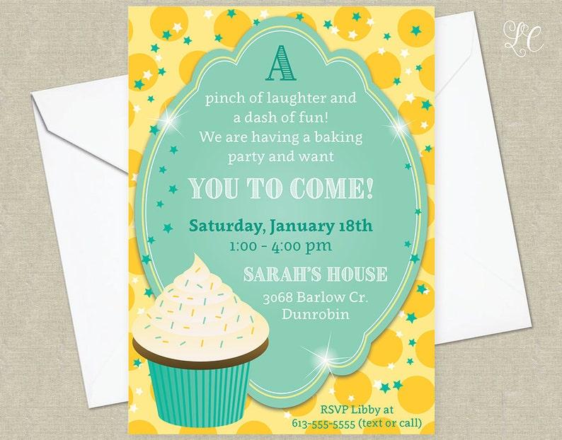Cupcake Birthday Party Invitation  Cupcake Party Invitation  image 0