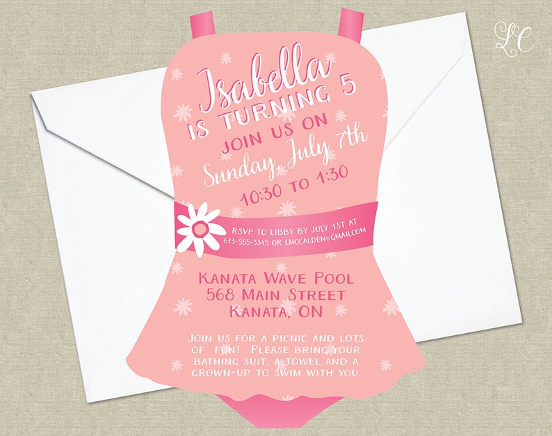 Peach and Pink Girls Pool Birthday Party Invitation  Pool image 0