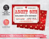 Movie Night Birthday Invitation - Movie Ticket Invitation - Night at the Movies Invitation - Kids Night at the Movies - Editable Invitation