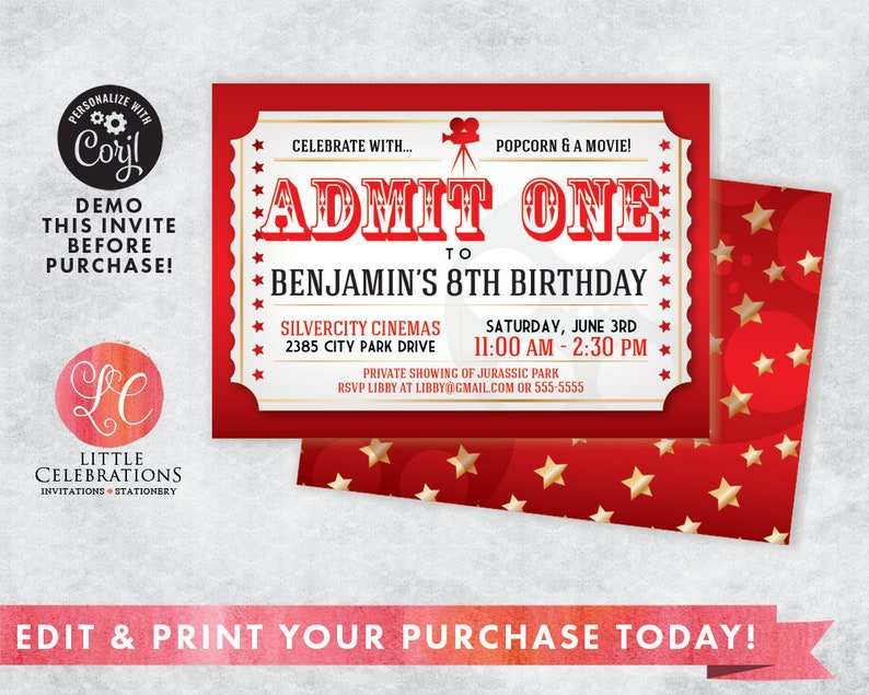 Movie Night Birthday Invitation  Movie Ticket Invitation  image 0