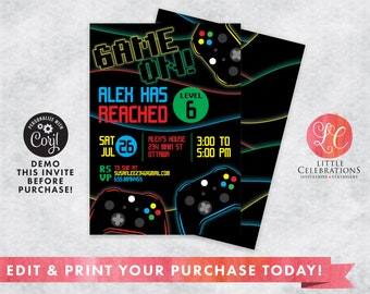 Video Game Birthday Party Digital Download Invitation, Gamer Invitations, Gamer Editable Invitation, Video Game Editable invitation, Corjl