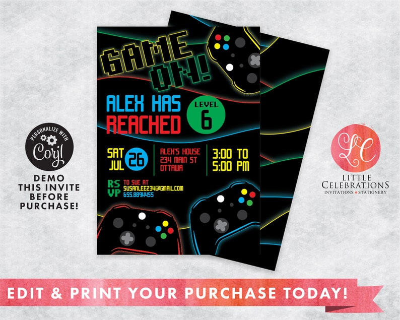 Video Game Birthday Party Digital Download Invitation Gamer image 0