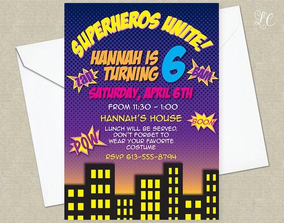 Girls Superhero Birthday Party Invitation