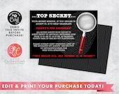 Spy Birthday Party Invitation - Mystery Birthday Invitation - Kids Spy Invitation - Kids Mystery Birthday Invitation - Printable Template
