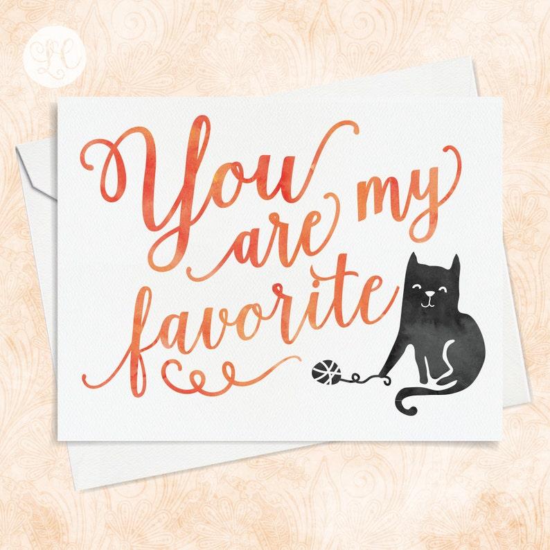 Cute Cat Card  Best Friends Card  Cat Note Card  Cat Card image 0