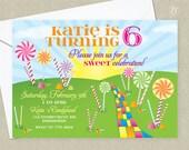 DIGITAL DOWNLOAD Birthday, Candy Birthday Invitation,Candy Land Birthday, Board Game Birthday, Candy Party, Corjl Template, Editable Invite