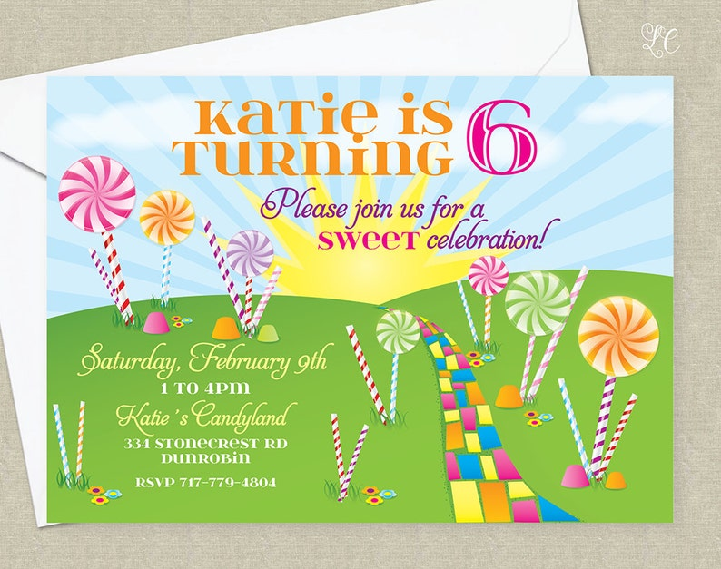 Candy Birthday Party Invitation  Candy Land Birthday Party image 0