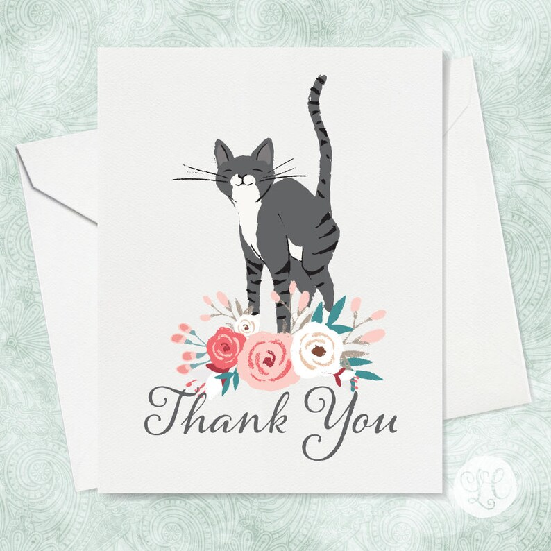 Grey Cat Thank You Card  Cat Thank You Card  Floral Thank image 0