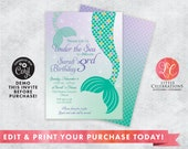 Mermaid Invitation - Under the Sea Birthday Invitation - Mermaid Birthday Party Invitation - Corjl Template - Editable Mermaid Invitation