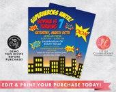 Superhero Birthday Invitation - Boys Birthday Invitations - Boys Birthday Party - Superhero Party - Printable Invitation - Corjl Template