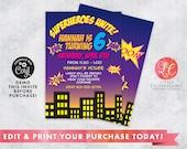 Editable Superhero Birthday Invitation - Superhero Invitation - Girls Birthday - Superhero Party - Printable Invitation - Corjl Template
