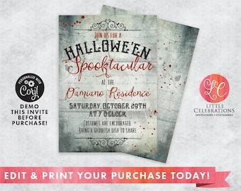 INSTANT DOWNLOAD - Halloween Party Invitation - Spooky Halloween - Costume Party - Vintage Halloween Party - Editable Invitation - Edit Now!