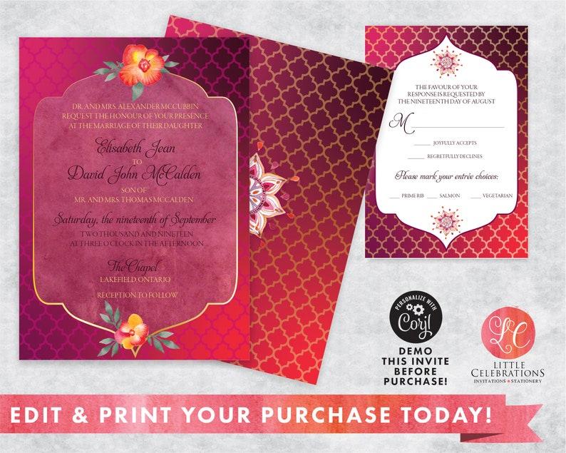 Exotic Wedding Invitation  Bright and Bold Wedding  image 0