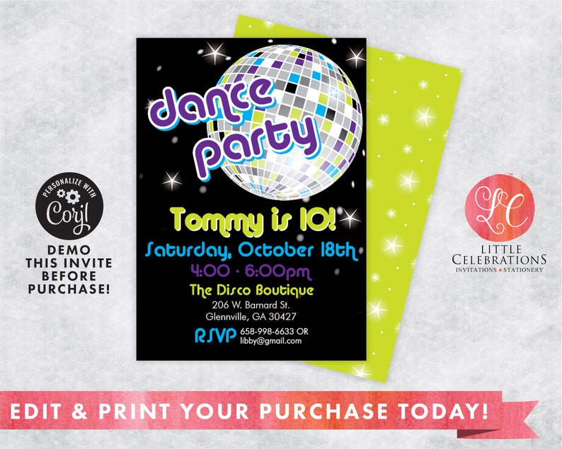 Dance Birthday Party Invitation Digital Dance Birthday image 0