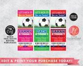 DIGITAL DOWNLOAD Birthday, Soccer Birthday Tickets, Soccerl Ticket Invitations, Ticket Invitation, Sports Party Ticket, Editable Tickets