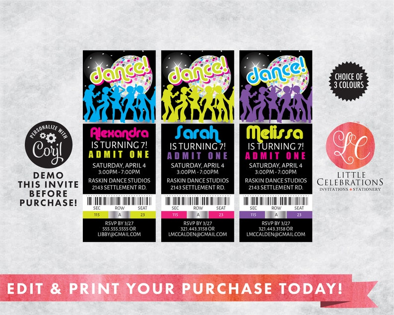 Editable Dance Birthday Party Tickets  80's Dance Ticket image 0