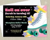 Retro Roller Skating Birthday Party Invitation - Retro Birthday Party - 80's Roller Skating Invitation
