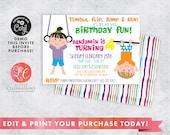 DIGITAL DOWNLOAD Birthday Invitation, Gymnastics Birthday Party Invitation, Tumbling Birthday Party Invitation, Gym Birthday, Corjl Template